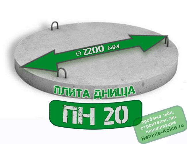 Плита днища колодца ПН20 без замка